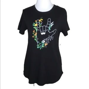 "NWT Old Navy Black Short Sleeve ""Love"" T-Shirt XS"